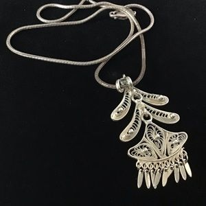 sterling silver Filigree Chandelier Necklace